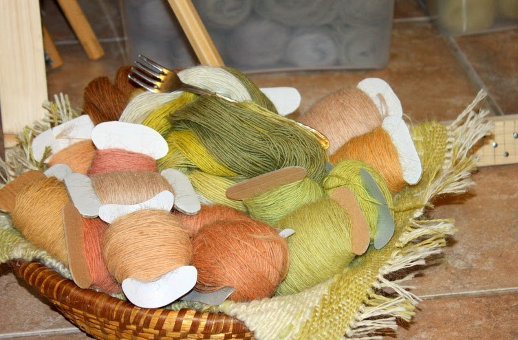 ručně předený materiál pro tkaní tapiserií
